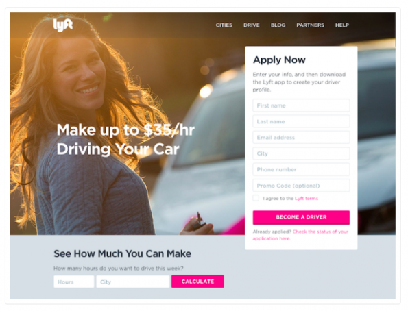 Lyft's landing page spells out what it wants users to do next once they get on their site.